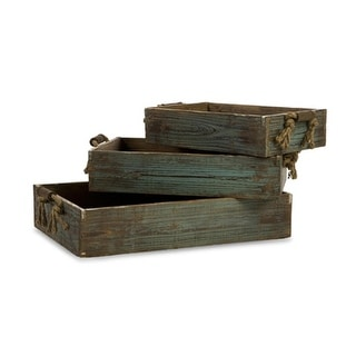 Set of 3 Weathered Wooden Blue Trays with Rope Handles - N/A