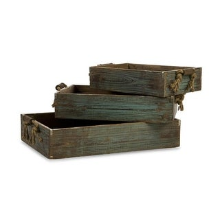 Set of 3 Weathered Wooden Blue Trays with Rope Handles