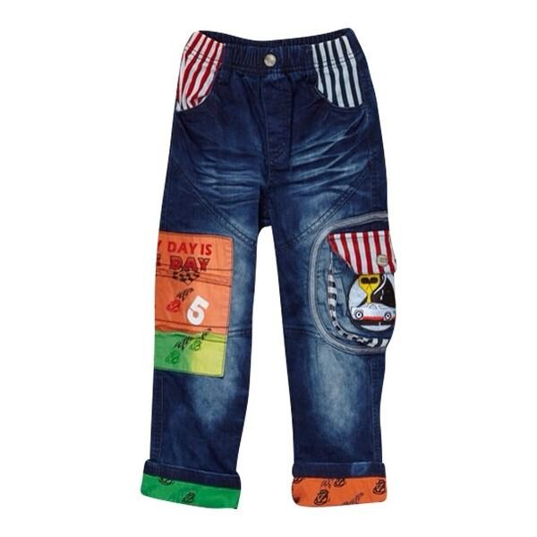 Rock'nStyle Baby Boys Dark Blue Red Stripe Print Pockets Denim Pants