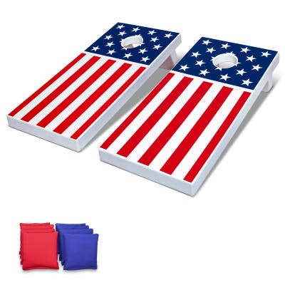GoSports 4'x2' All Weather American Flag Cornhole Game Set - Includes 8 Bags & Game Rules