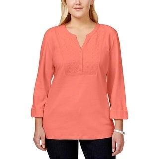 Karen Scott Womens Plus Henley Sweater Eyelet Overlay Three-Quarter Sleeve