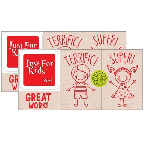 Hero Kids Stamp Set, 3 Per Sets, 2 Sets - One Size