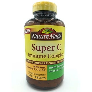 Nature Made Super C Immune Complex With Zinc + Vitamins A,C,D3, & E, 200 Tablets Dietary Supplement - YELLOW - 200 caps