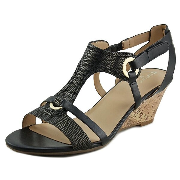 Naturalizer Heston Women Open Toe Synthetic Black Wedge Sandal