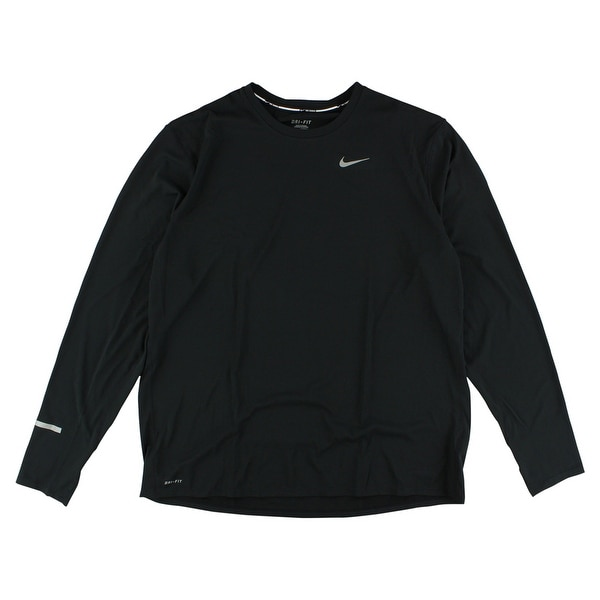 4f6a6caa6 Shop Nike Mens Dri Fit Contour Long Sleeve Shirt Black - black/reflective  silver - XxL - Free Shipping Today - Overstock - 22615577
