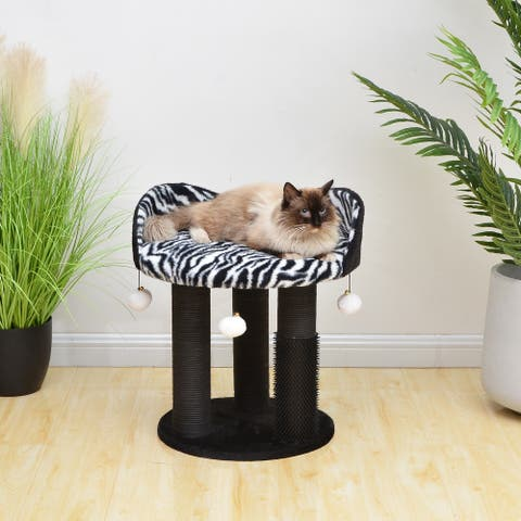 PetPals Diego Cat Perch with Paper Rope Scratching Post, Rubber Massager and Perch
