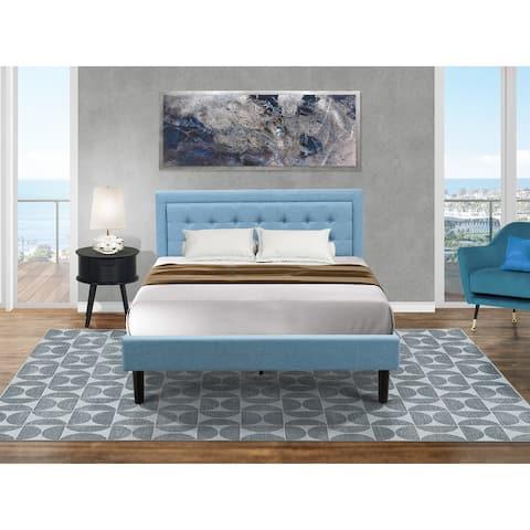 Platform Bedroom Furniture Set with Platform Bed and a Wood Nightstand - Denim Blue Linen Fabric - ( End Table Piece Option )