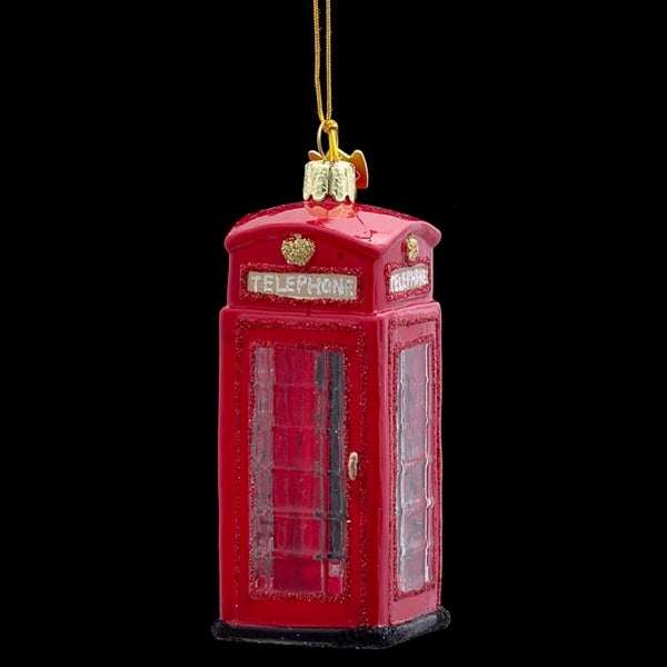"4"" Noble Gems Classic Red British Phone Booth Christmas Ornament"