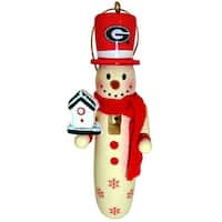 6 NCAA University of Georgia Bulldogs Wooden Snowman Christmas Ornaments 6""