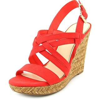 Jessica Simpson Julita Women Open Toe Canvas Red Wedge Heel