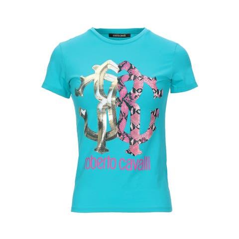 Roberto Cavalli Women's Cotton Crew Neck Snake Skin Logo T-Shirt Teal - S