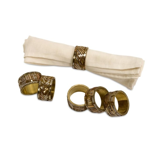 Set of 6 Majestic Gold Tone Mirror Finish Napkin Rings