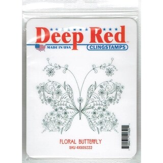 Deep Red Stamps Floral Butterfly Rubber Cling Stamp - 3.1 x 2.7