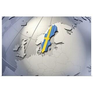 """""""Digital Composite, flag of Sweden"""" Poster Print"""