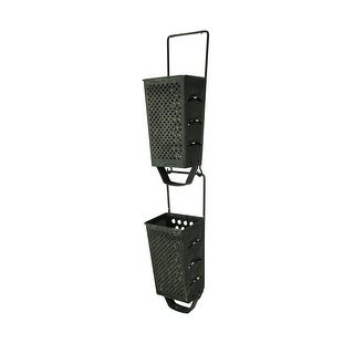 Upside Down Metal Cheese Grater Hanging Planters Set of 2 - 13.25 X 4.25 X 3.5 inches