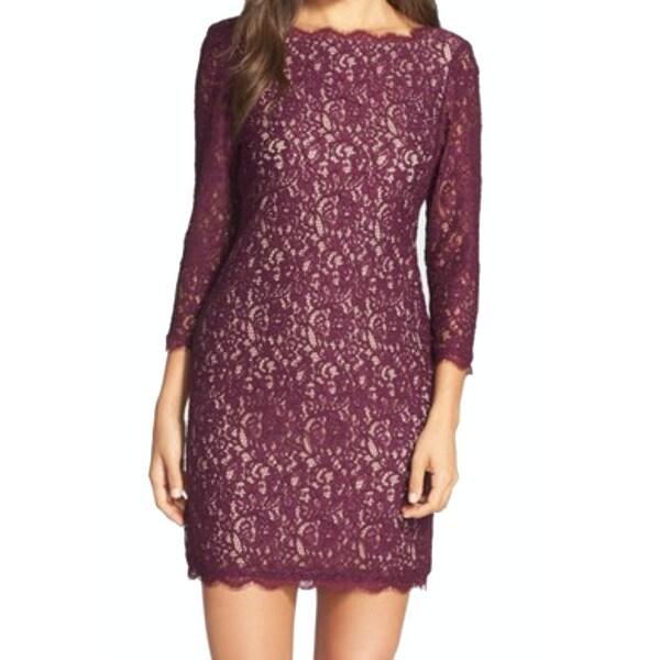 4e18ab4a08ae Shop Adrianna Papell NEW Purple Womens 16 V-Back Lace Scallop-Trim ...