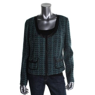 Hinge Womens Tweed Faux Trim Collarless Blazer - S