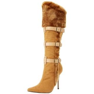 Funtasma Womens Viking Microsued Faux Fur Trim Over-The-Knee Boots