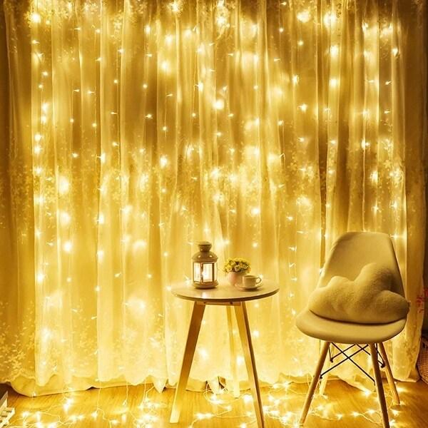 9.8ft x 9.8ft 300 LEDs Christmas Curtain String Light, Warm White