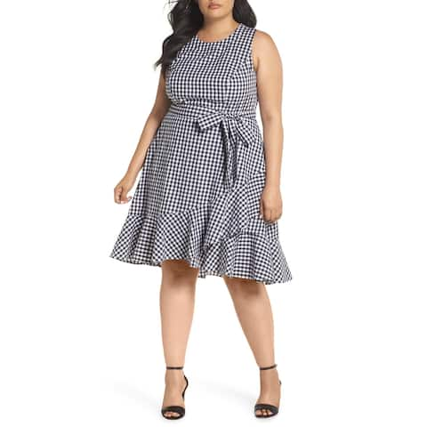 Eliza J Black Womens Size 22W Plus Belted Ruffle Hem Gingham Dress