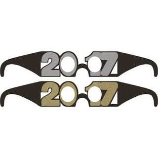 """Club Pack of 72 Glittered Gold and Silver New Year's """"2017"""" Party Favor Paper Glasses"""