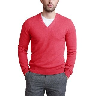 Bloomingdales Mens 2-Ply Cashmere V-Neck Sweater Large L Bright Coral