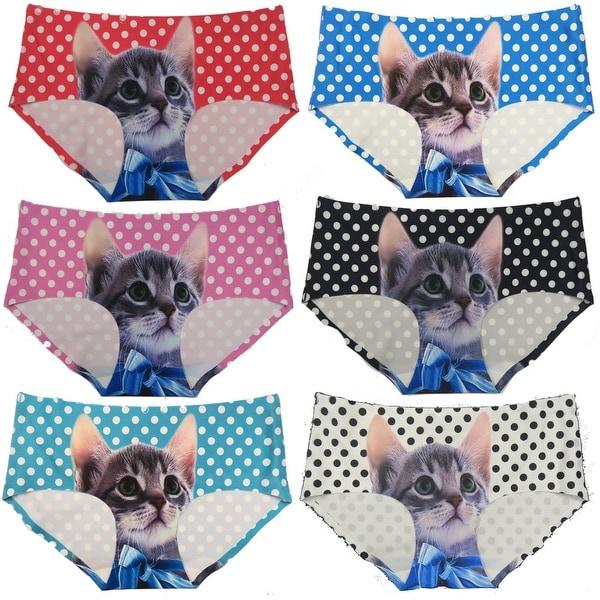 Women 6 Pack Kitty Cat B Laser Cut No Show Briefs Panties