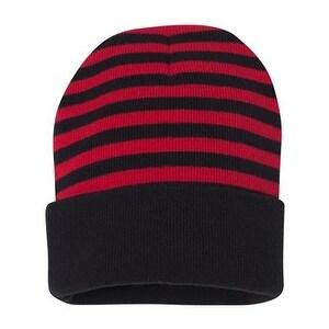 "Sportsman 12"" Striped Knit Beanie - Red/ Black - One Size"