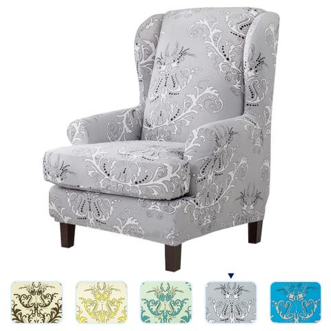 Subrtex Stretch Printed Floral Stylish Wingback Chair Cover