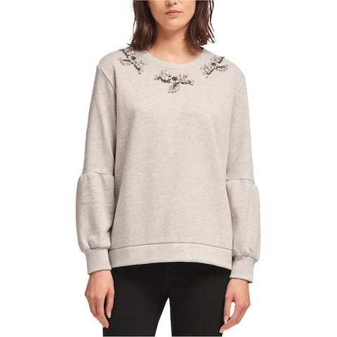 Dkny Womens Beaded Balloon-Sleeve Sweatshirt