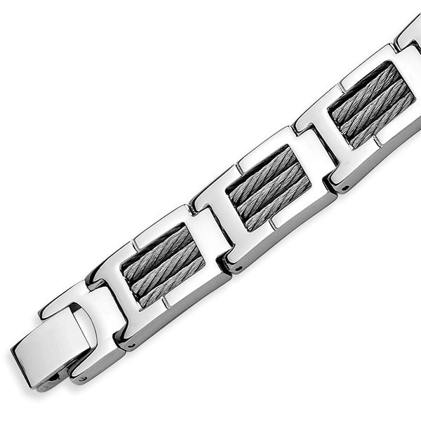 Chisel Stainless Steel with Steel Cable Polished 8.25 Inch Bracelet
