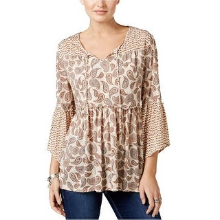 Style & Co Mixed Print Peasant Top Blouse - xs