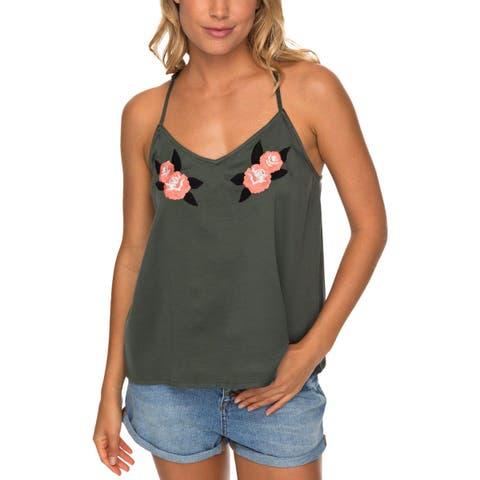 Roxy Womens Juniors Waves Of Valley Tank Top Satin Embroidered