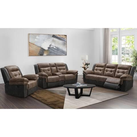 Abbyson Tacoma Two-tone Fabric Reclining Sofa Set