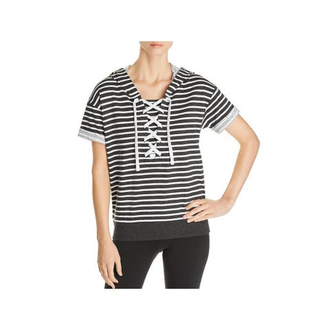 Marc New York Womens Hoodie Striped Lace Up