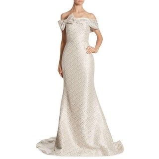 Teri Jon Bow Off Shoulder Evening Gown Dress Platinum