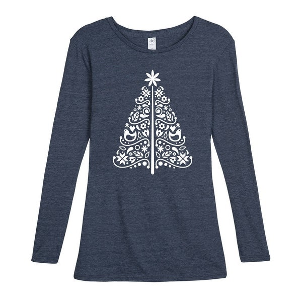 4912f1b8d7a Shop Scandinavian Christmas Tree Simple - Ladies Long Sleeve Tee - Free  Shipping On Orders Over $45 - Overstock - 24317088