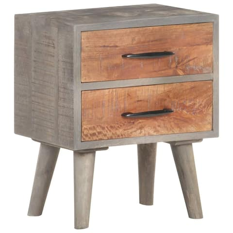 "vidaXL Bedside Cabinet Gray 15.7""x11.8""x19.7"" Solid Rough Mango Wood"