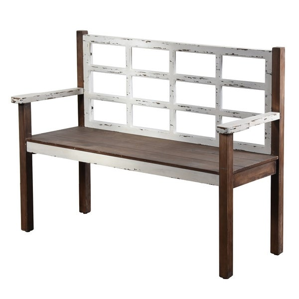"""StyleCraft SC-AF25113DS 50 1/2"""" Wide Wood Framed Bench with Distressed Finish - Distressed White"""