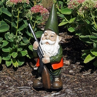 Sunnydaze Hank the Hunting Gnome Garden Statue and Lawn Ornament - 12-Inch - Hank, 12 Inch
