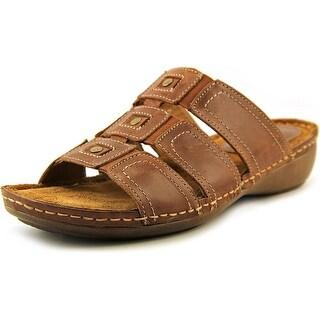 Montana Topaz Women Open Toe Leather Brown Slides Sandal