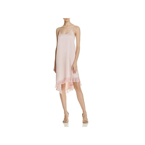 Elizabeth and James Womens Angela Slip Dress Silk Crepe Ruffled