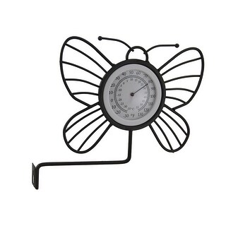 Wrought Iron Wall Mounted Butterfly Outdoor Thermometer