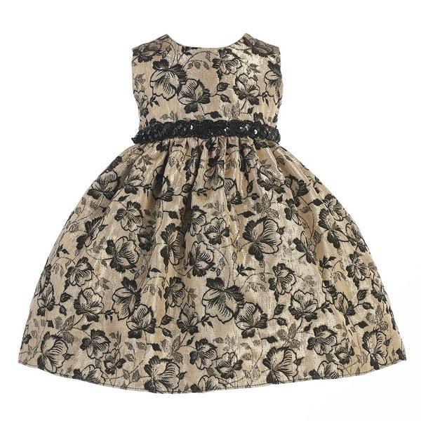 Crayon Kids Baby Girls Gold Black Floral Sequined Belt Christmas Dress 18M
