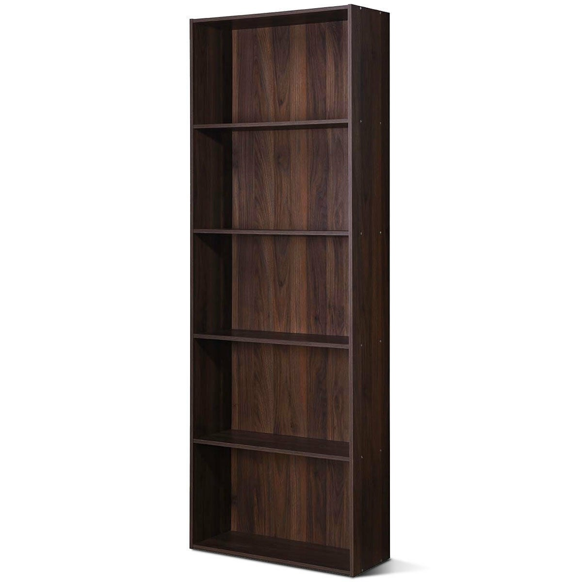 5 Shelf Storage Bookcase Modern Multi Functional Display Cabinet Furniture Walnut