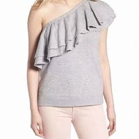 Chelsea 28 Gray Women's Small S One Shoulder Ruffle Trim Knit Top