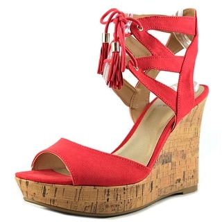 G By Guess Estes Open Toe Canvas Wedge Heel