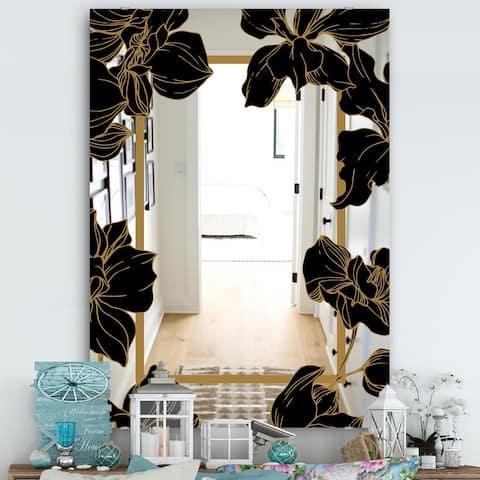 Designart 'Gold Botanical Obsidian 7' Traditional Mirror - Modern Bathroom Mirror or Accent Wall Mirror