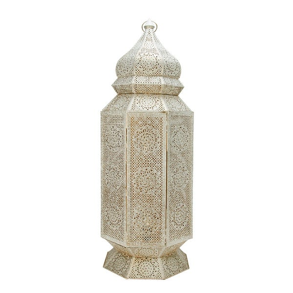 """30.5"""" Distressed White and Gold Antique Style Moroccan Cut-Out Floor Pillar Candle Lantern"""