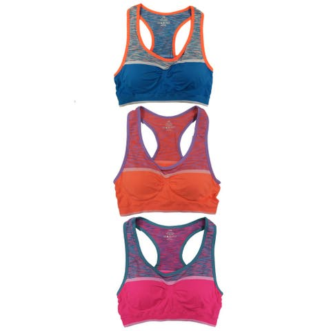 Women 3 Pack Space Dye Contrast Color Padded Athletic Sports Bras